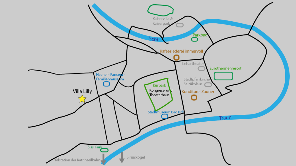 Karte von Bad Ischl mit Sehenswürdigkeiten